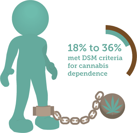 18 to 36 percent met criteria for cannabis dependence