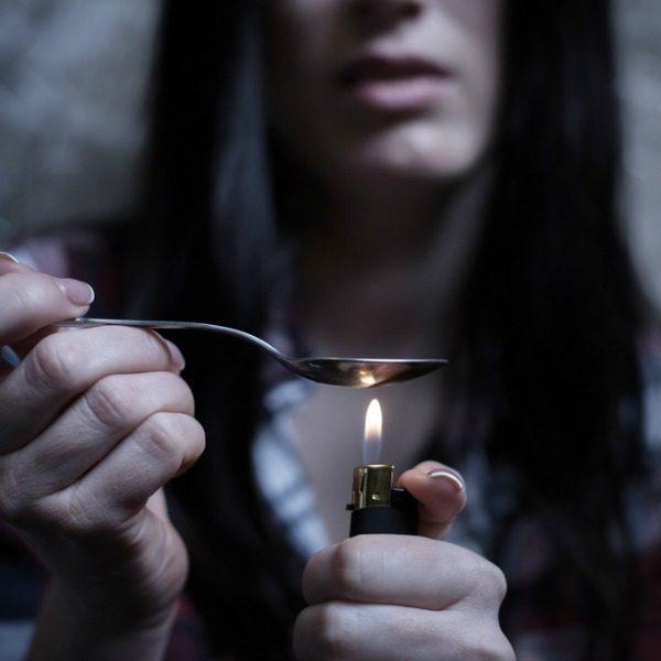 Heating heroin in spoon