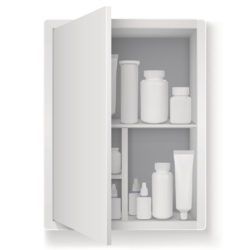 illustration of a medicine cabinet with drugs inside