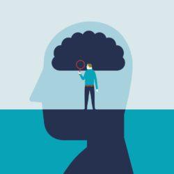illustration of man examining the brain