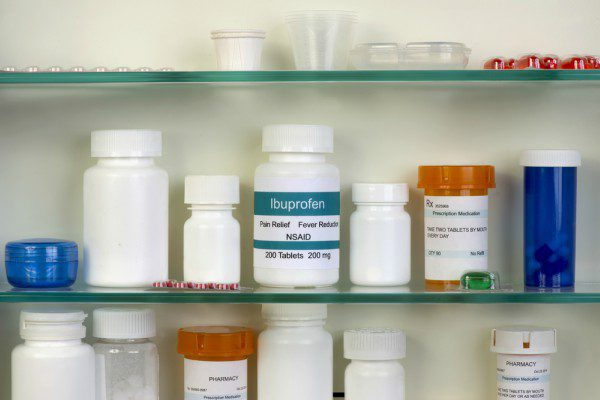 OTC drugs in medicine cabinet