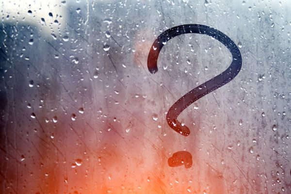 Question mark on window