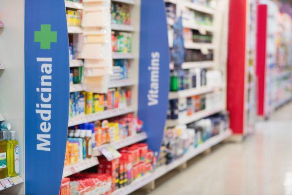 Retail pharmacy shelves