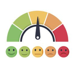 illustration of a scale of happy faces ranging from smiling to frowning